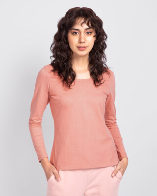 Shop Misty Pink Scoop Neck Full Sleeve T-Shirt-Front