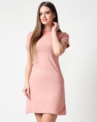 Shop Misty Pink Women High Neck Rib Dress-Front