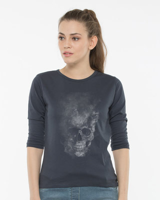 Shop Misty Skull Round Neck 3/4th Sleeve T-Shirt-Front