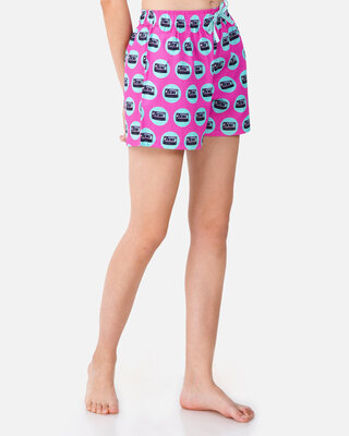 Shop Smugglerz Mixed Tape-Women-Boxer-Pink-Front