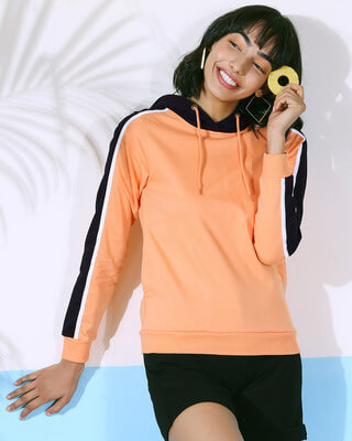 Shop Orange Rush Shoulder Sleeves Fleece Hoodie-Front