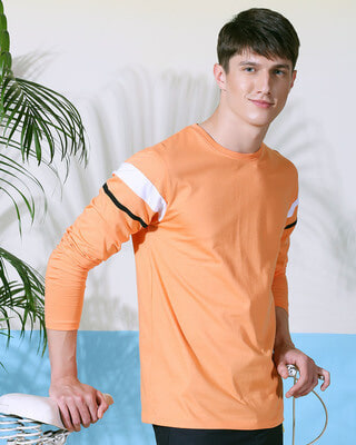 Shop Orange Rush Sports Trim Full Sleeves-Front