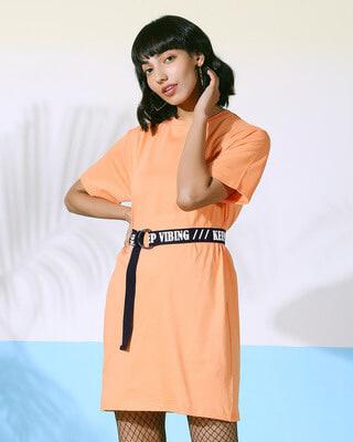 Shop Orange Rush Belt Dress-Front