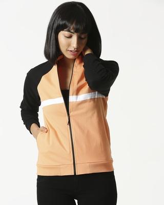 Shop Orange Rush Contrast Sleeves Panel Zipper Hoodie-Front
