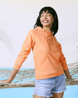 Shop Orange Rush Fleece Hoodie-Front