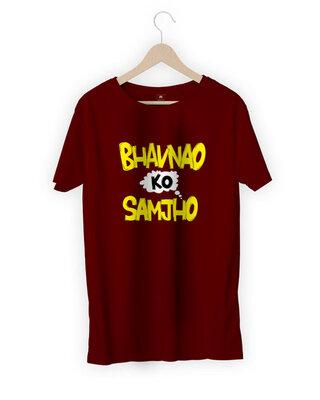 Shop Mojotrack Bhavnao Ko Samjo Men Funny T-Shirt-Front