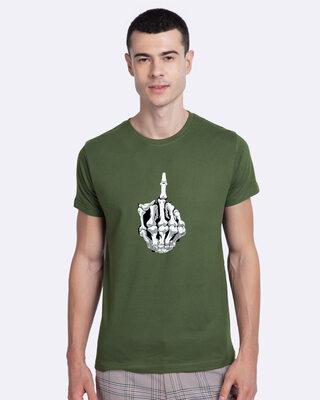 Shop Mojotrack Middle Finger Half Sleeve T-Shirt-Front
