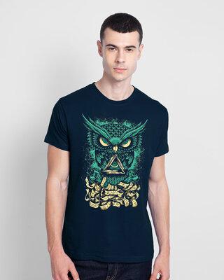 Shop Mojotrack Green Owl Half Sleeve T-Shirt-Front