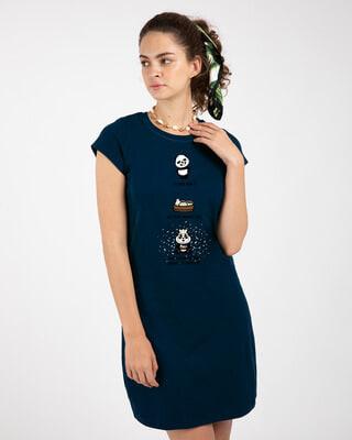 Shop Momo Pawri Cap Sleeve Printed T-Shirt Dress Navy Blue-Front