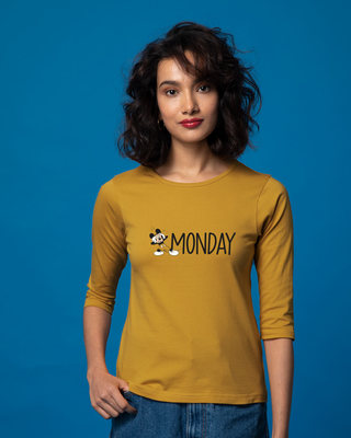 Shop Monday Mickey Round Neck 3/4th Sleeve T-Shirt (DL)-Front