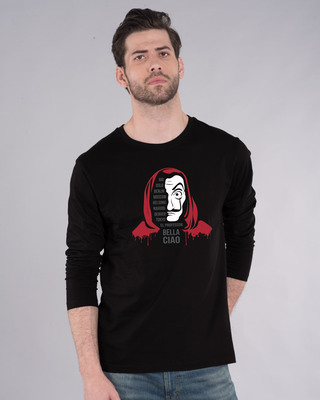 Shop Money Mask Full Sleeve T-Shirt-Front