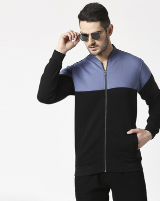 Shop Moonlight Blue-Black Panel Zipper Bomber Jacket-Front