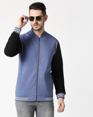 Shop Moonlight Blue Varsity Bomber Jacket-Front