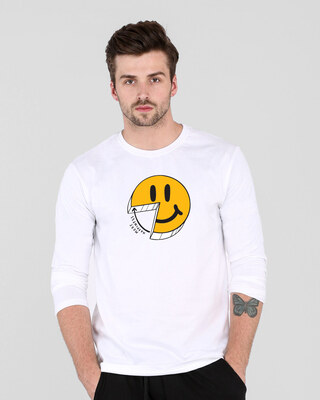Shop More Happiness Full Sleeve T-Shirts-Front