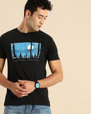Shop More Memories Half Sleeve T-Shirt Black-Front