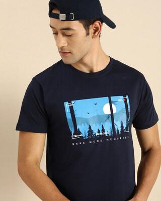 Shop More Memories Half Sleeve T-Shirt Navy Blue-Front