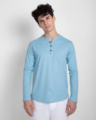 Shop Morning Blue V-Neck Henley T-Shirt-Front