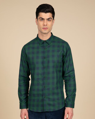 Shop Moss Blue Checked Shirt-Front