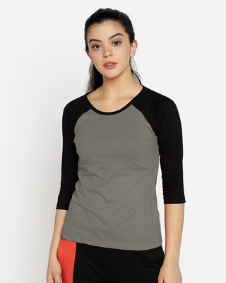 Shop Moss Green-Black 3/4th Sleeve Raglan T-Shirt-Front