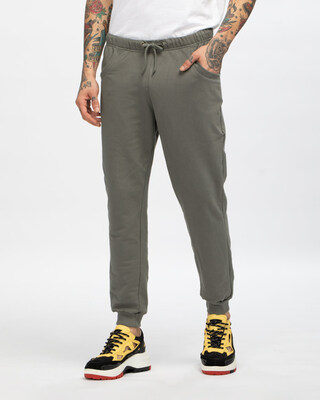Shop Moss Green Casual Jogger Pant-Front