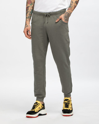 Shop Moss Green Casual Jogger Pants-Front