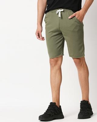 Shop Moss Green Raw Hem Shorts-Front