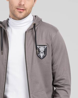 Shop Motorbike Badge Zipper Hoodie-Front