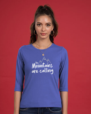 Shop Mountain Calling Round Neck 3/4th Sleeve T-Shirt-Front