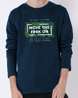 Shop Move on It Full Sleeve T-Shirt Navy Blue-Front