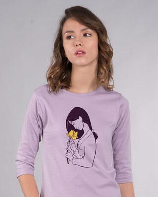 Shop Mulan Flower Round Neck 3/4th Sleeve T-Shirt (DL)-Front