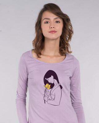 Shop Mulan Flower Scoop Neck Full Sleeve T-Shirt (DL)-Front