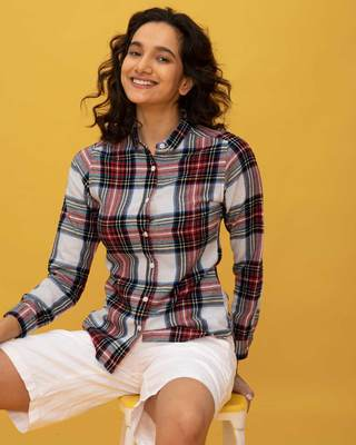 Shop Multi Color Check Slim Shirt-Front