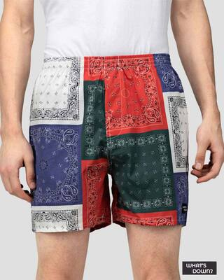 Shop What's Down | Multicolour Mandala Boxer Shorts | Scarf Print Boxers-Front
