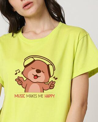 Shop Music Bear Boyfriend T-Shirts  Neo Mint-Front