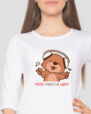 Shop Music Bear Round Neck 3/4 Sleeve T-Shirts White-Front