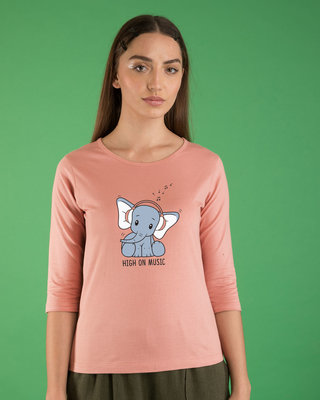 Shop Music Elephant Round Neck 3/4th Sleeve T-Shirt-Front