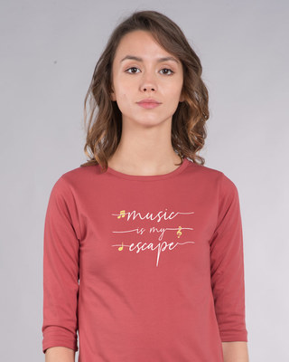 Shop Music Is My Escape Round Neck 3/4th Sleeve T-Shirt-Front