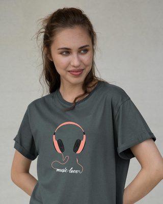 Shop Music Lover - Headphones Boyfriend T-Shirt-Front