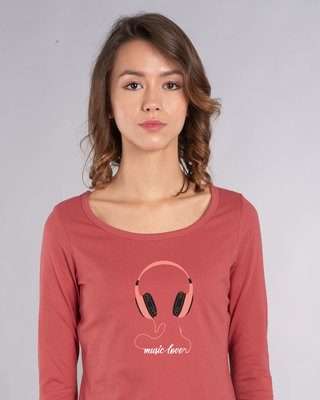Shop Music Lover - Headphones Scoop Neck Full Sleeve T-Shirt-Front