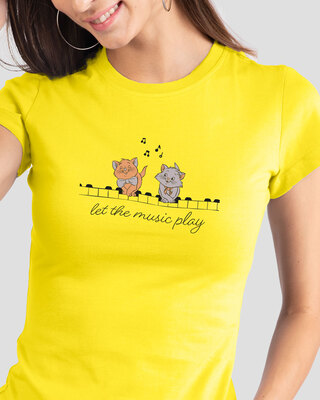 Shop Musical Cats Half Sleeve T-Shirt Pineapple Yellow (DL)-Front