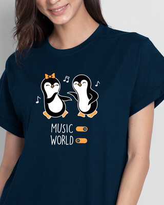 Shop Musical Penguins Boyfriend T-Shirts Navy Blue-Front