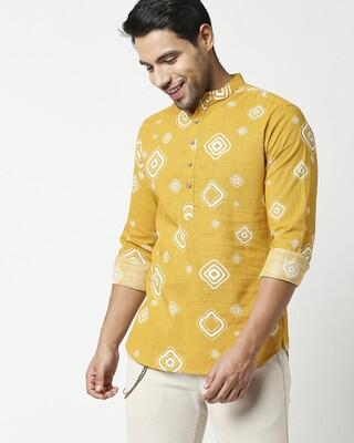 Shop Men's All Over Printed Short Kurta-Front
