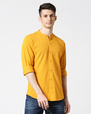 Shop Comfort Stretch Pique Knit Mustard Shirt-Front