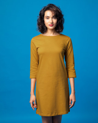 Shop Mustard Yellow Boat Neck 3/4th Sleeve T-Shirt Dress-Front