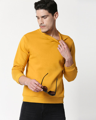 Shop Mustard Yellow Fleece Sweater-Front