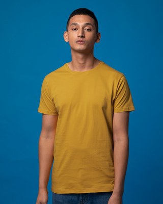 Shop Mustard Yellow Half Sleeve T-Shirt-Front