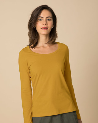 Shop Mustard Yellow Scoop Neck Full Sleeve T-Shirt-Front