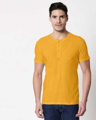 Shop Mustard Yellow Slub Henley T-Shirt-Front