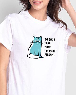 Shop Mute Already Boyfriend T-Shirt White-Front