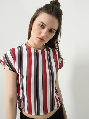 Shop MWB Casual Striped Cutout Back Top-Front